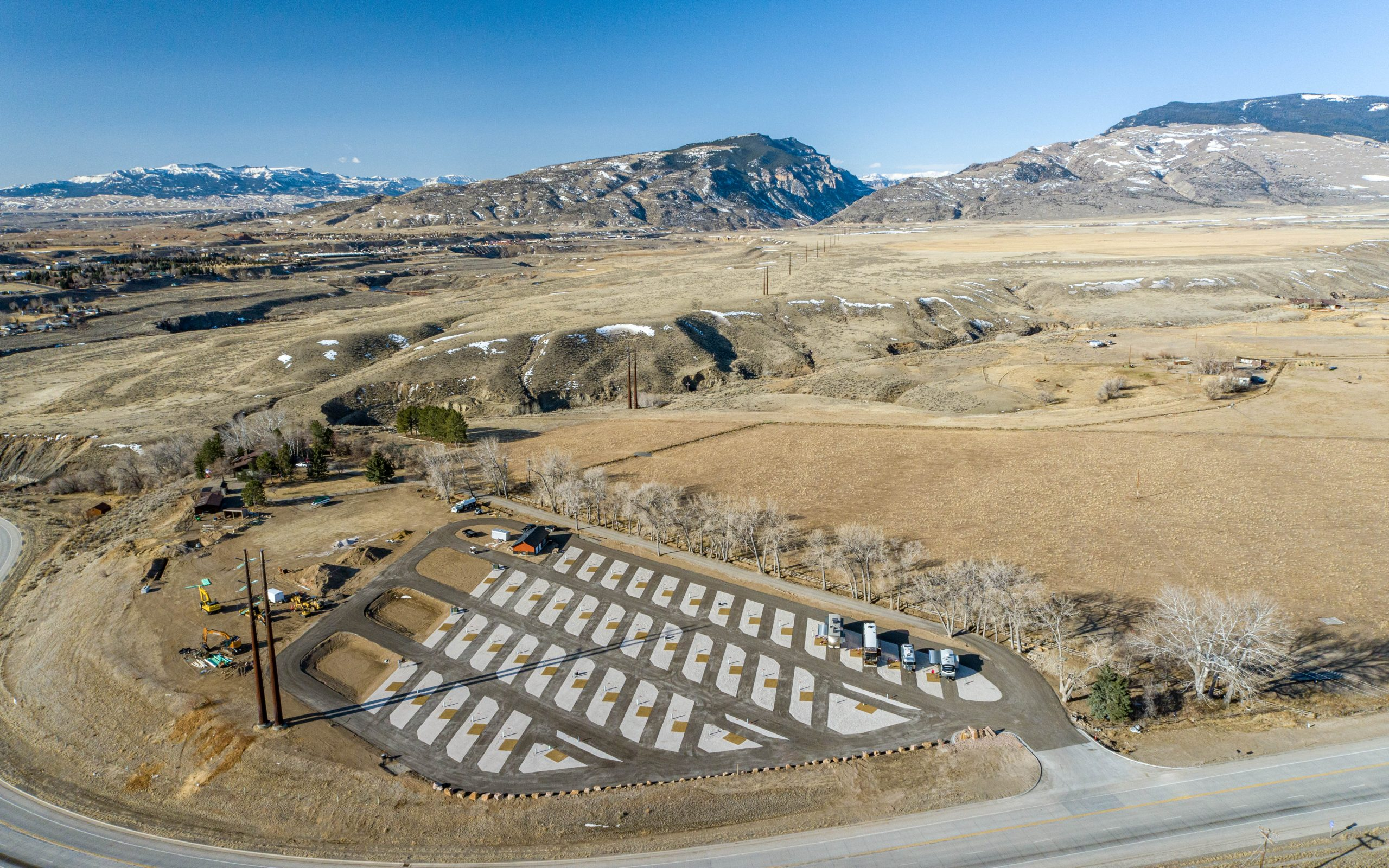 aerial view of rv sites with background